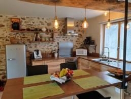 Rénovation maison pierre isolation extérieure bardage bois St Fiacre sur Maine Cuisine