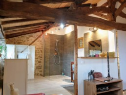 Rénovation maison pierre isolation extérieure bardage bois St Fiacre sur Maine Salle de bain (2)