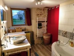 Rénovation maison pierre isolation extérieure bardage bois St Fiacre sur Maine Salle de bain